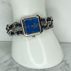 Chico's Silver Tone Chain Link Blue Woven Band Watch Needs Battery